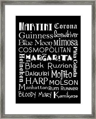 Favorite Drinks  Framed Print by Jaime Friedman