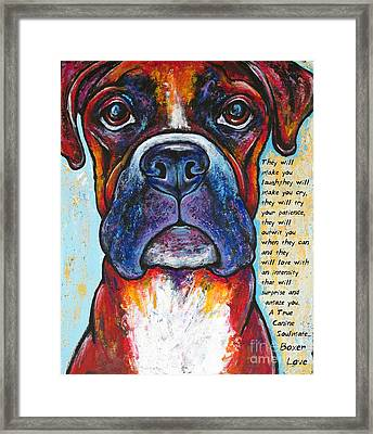 Fawn Boxer Love Framed Print by Stephanie Gerace