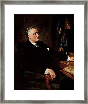Fdr Official Portrait  Framed Print by War Is Hell Store