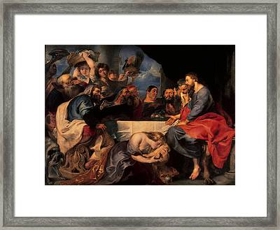 Feast In The House Of Simon The Pharisee, C.1620 Oil On Canvas Framed Print by Peter Paul Rubens