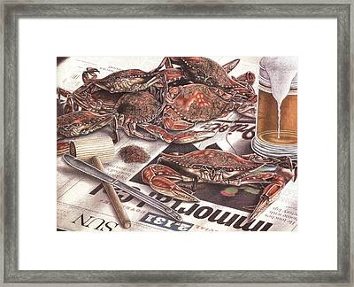Feast On The Chesapeake Framed Print by Jonathan W Brown