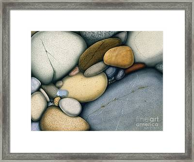 Feather And Stones Framed Print by Jon Q Wright