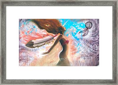 Feather Girl 1 Framed Print by Luis  Navarro