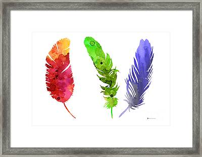 Feathers Silhouette Painting Watercolor Art Print Framed Print by Joanna Szmerdt