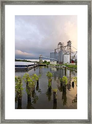 Feed Mill On The River Framed Print by Francie Davis