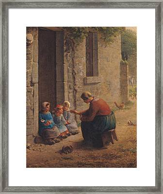 Feeding The Young Framed Print by Jean-Francois Millet