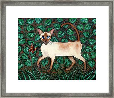 Felina And The Monarch Framed Print by Linda Mears