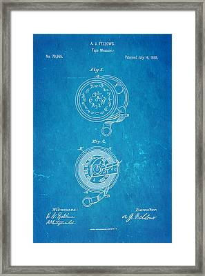 Fellows Tape Measure Patent Art 1868 Blueprint Framed Print by Ian Monk