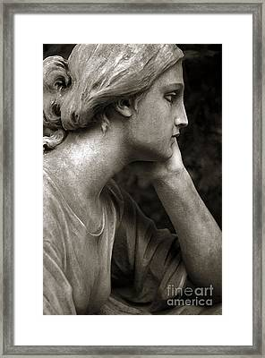Female Angel Face Closeup - Female Angelic Face Portrait Framed Print by Kathy Fornal