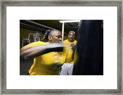 Female Boxer Training Framed Print by Jim West