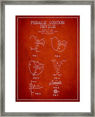 Female Condom Device Patent From 1989 - Red Framed Print by Aged Pixel