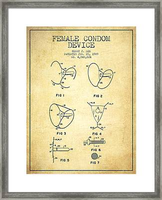 Female Condom Device Patent From 1989 - Vintage Framed Print by Aged Pixel