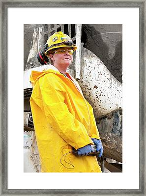 Female Construction Worker Framed Print by Ashley Cooper