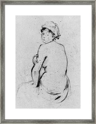 Female Nude Seen From Behind Framed Print by Berthe Morisot