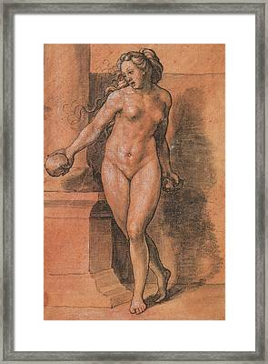 Female Nude Stone Thrower Framed Print by