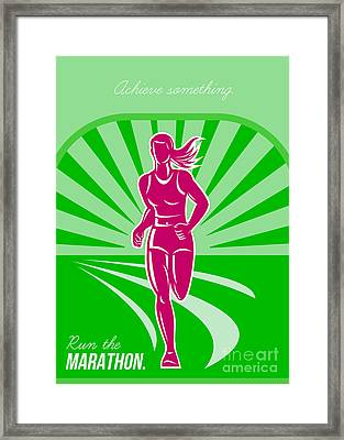 Female Run Marathon Retro Poster Framed Print by Aloysius Patrimonio