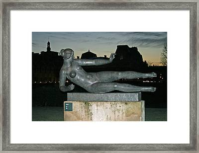 Female Statue In The Tuileries Garden Framed Print by Linda Mans