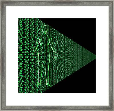 Female With Binary Code Framed Print by Victor De Schwanberg