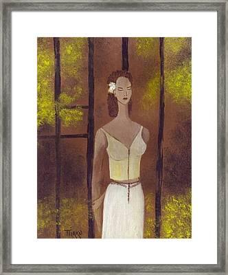 Femme En Blanc Framed Print by Mirko Gallery