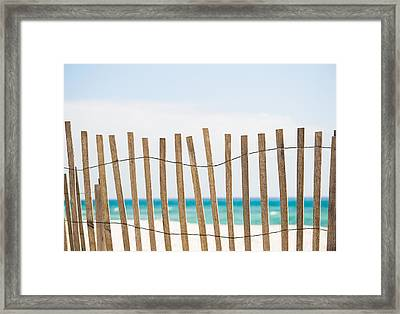 Fence On The Beach Framed Print by Shelby  Young