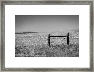 Fence Post Near Choteau Montana Bw Framed Print by Rich Franco