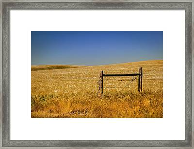 Fence Post Near Choteau Montana Framed Print by Rich Franco