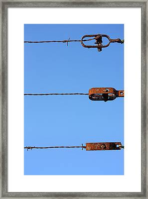 Fence With Barbed Wire  Framed Print by Mikel Martinez de Osaba