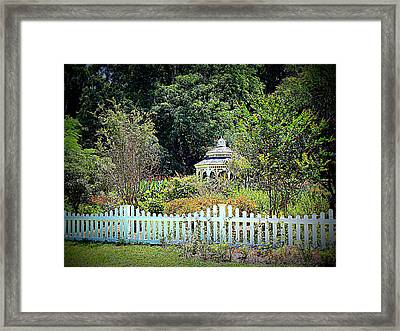 Fenced Butterfly Garden Framed Print by Sheri McLeroy