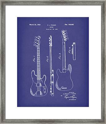 Fender Bass Guitar 1953 Patent Art Blue Framed Print by Prior Art Design