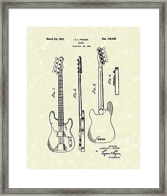 Fender Bass Guitar 1953 Patent Art  Framed Print by Prior Art Design