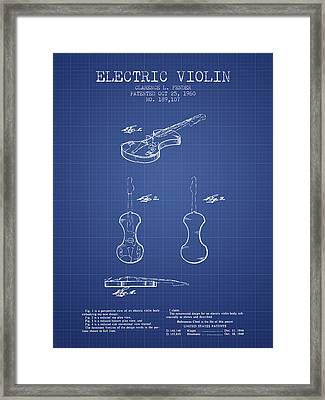 Fender Electric Violin Patent From 1960 - Blueprint Framed Print by Aged Pixel