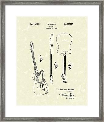 Fender Guitar 1951 Patent Art Framed Print by Prior Art Design