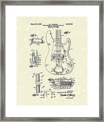 Fender Guitar 1961 Patent Art Framed Print by Prior Art Design