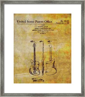Fender Guitar Patent On Canvas Framed Print by Dan Sproul