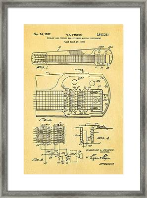 Fender Pick-up Patent Art 1957  Framed Print by Ian Monk