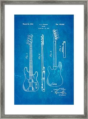 Fender Precision Bass Guitar Patent Art 1953 Blueprint Framed Print by Ian Monk