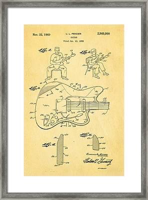 Fender Jazzmaster Guitar Patent Art 1960  Framed Print by Ian Monk