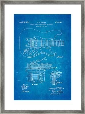 Fender Stratocaster Tremolo Arm Patent Art 1956 Blueprint Framed Print by Ian Monk
