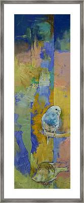 Feng Shui Parakeets Framed Print by Michael Creese