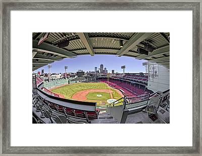 Fenway Park And Boston Skyline Framed Print by Susan Candelario
