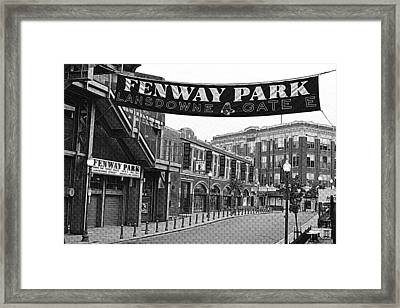 Fenway Park Banner Black And White Framed Print by Toby McGuire