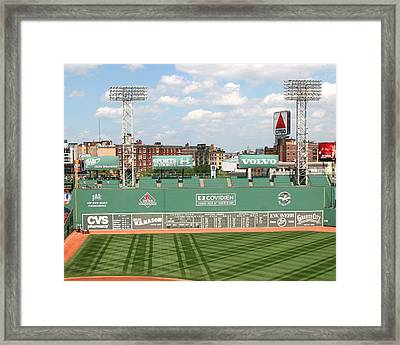 Fenway Park Green Monster 1 Framed Print by Kathy Hutchins