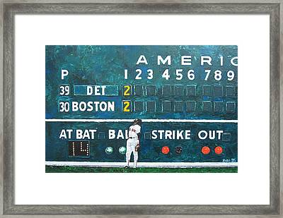 Fenway Park - Green Monster Framed Print by Mike Rabe