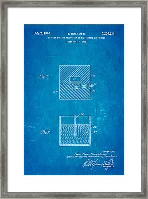 Fermi Radioactive Substance Manufacture Patent Art 1940 Blueprint Framed Print by Ian Monk
