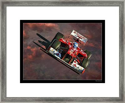 Fernando Alonso Ferrari Framed Print by Blake Richards