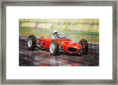 Ferrari 156 Dino British Gp1962 Phil Hill Framed Print by Yuriy Shevchuk