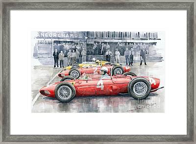 Ferrari 156 Sharknose 1961 Belgian Gp Framed Print by Yuriy Shevchuk