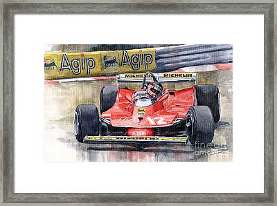 Ferrari  312t4 Gilles Villeneuve Monaco Gp 1979 Framed Print by Yuriy Shevchuk