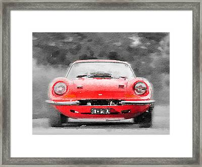 Ferrari Dino 246 Gt Front Watercolor Framed Print by Naxart Studio