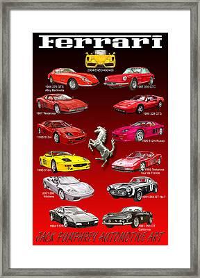 Ferrari Poster Art Framed Print by Jack Pumphrey
